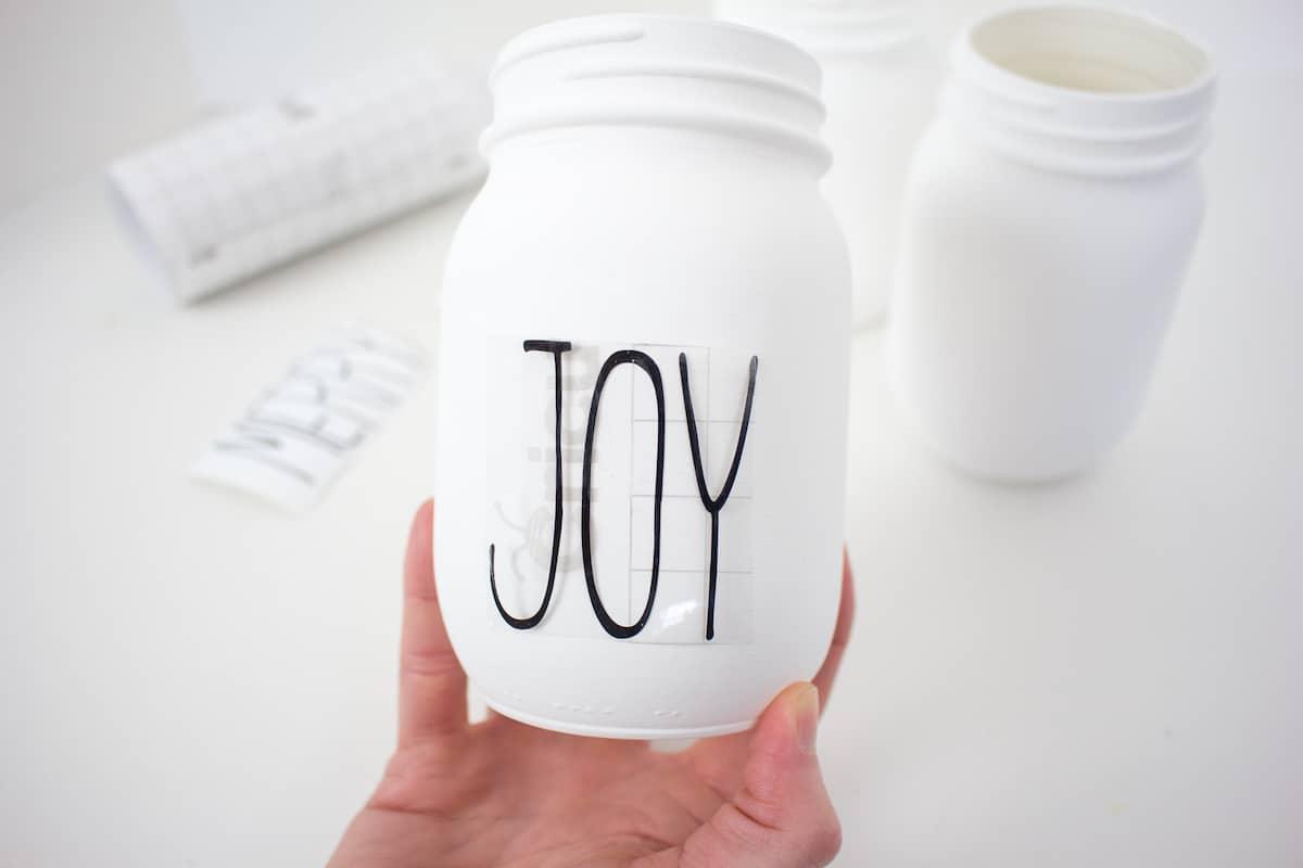 Joy Letters on Transfer Paper on Mason Jar