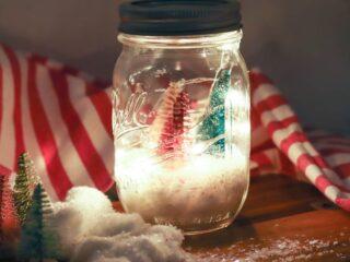 Mason Jar Christmas luminary lit up