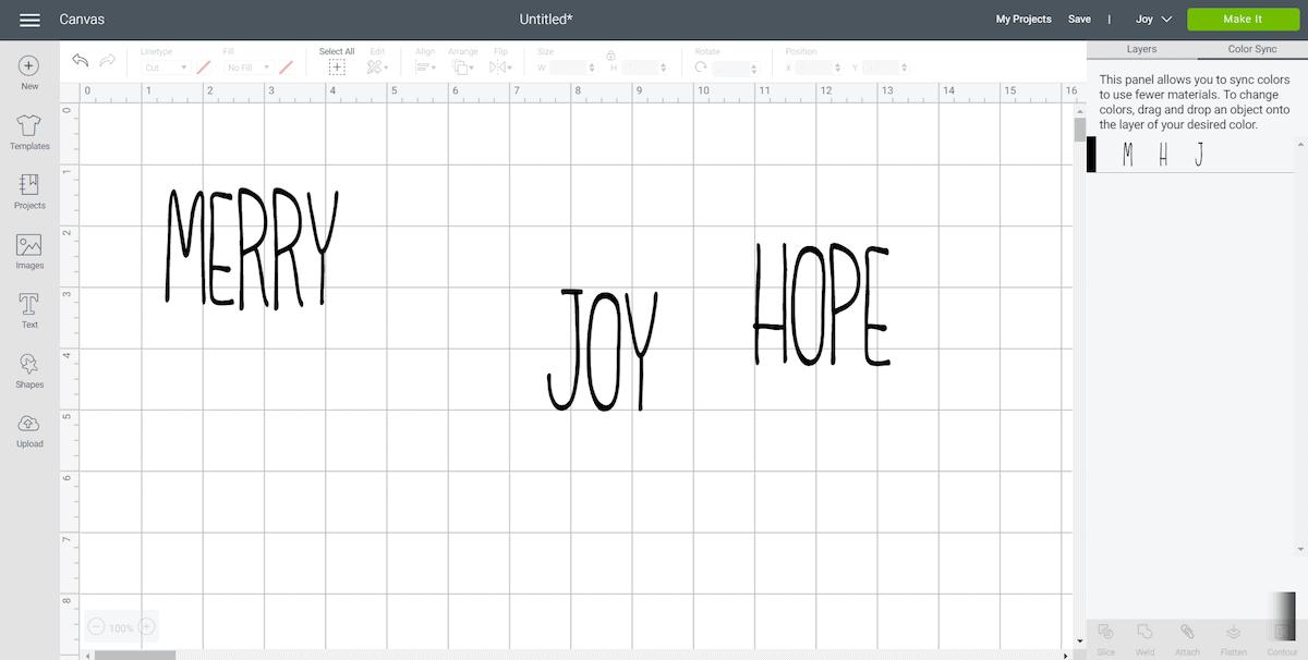 Merry Joy Hope Letters in Cricut Design Space
