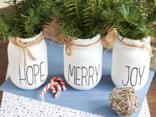 decorated Christmas Mason Jar centerpiece