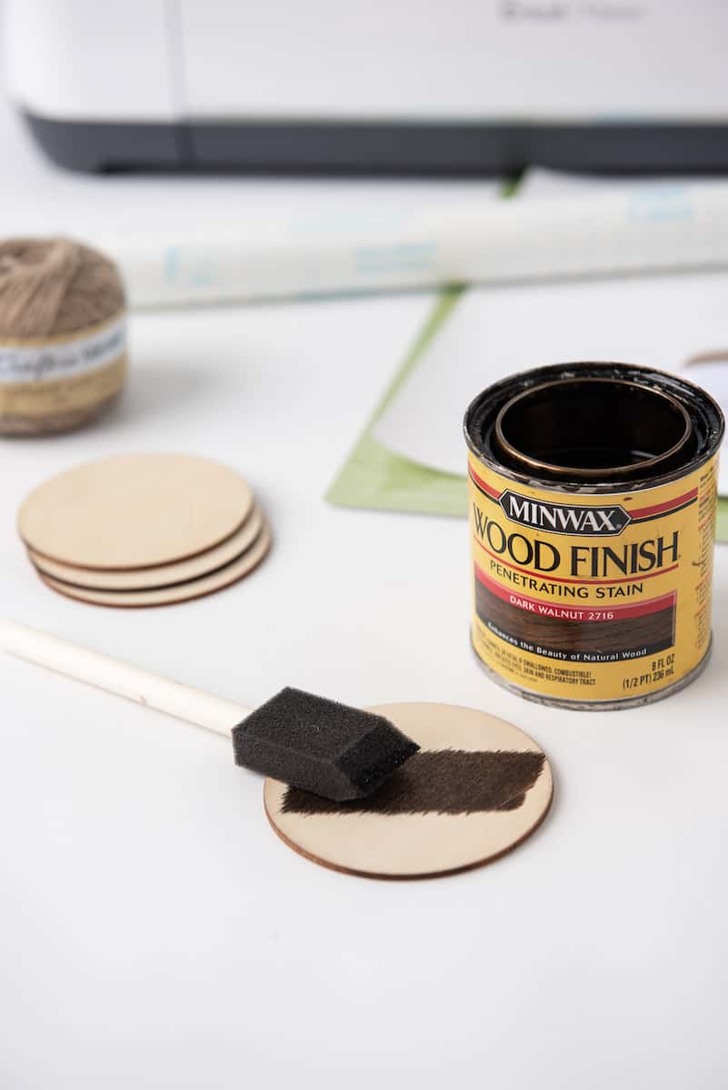Painting Wood Stain on Wood Round