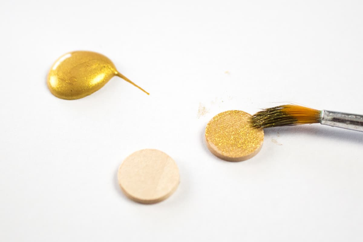 Painting Wooden Buttons Gold