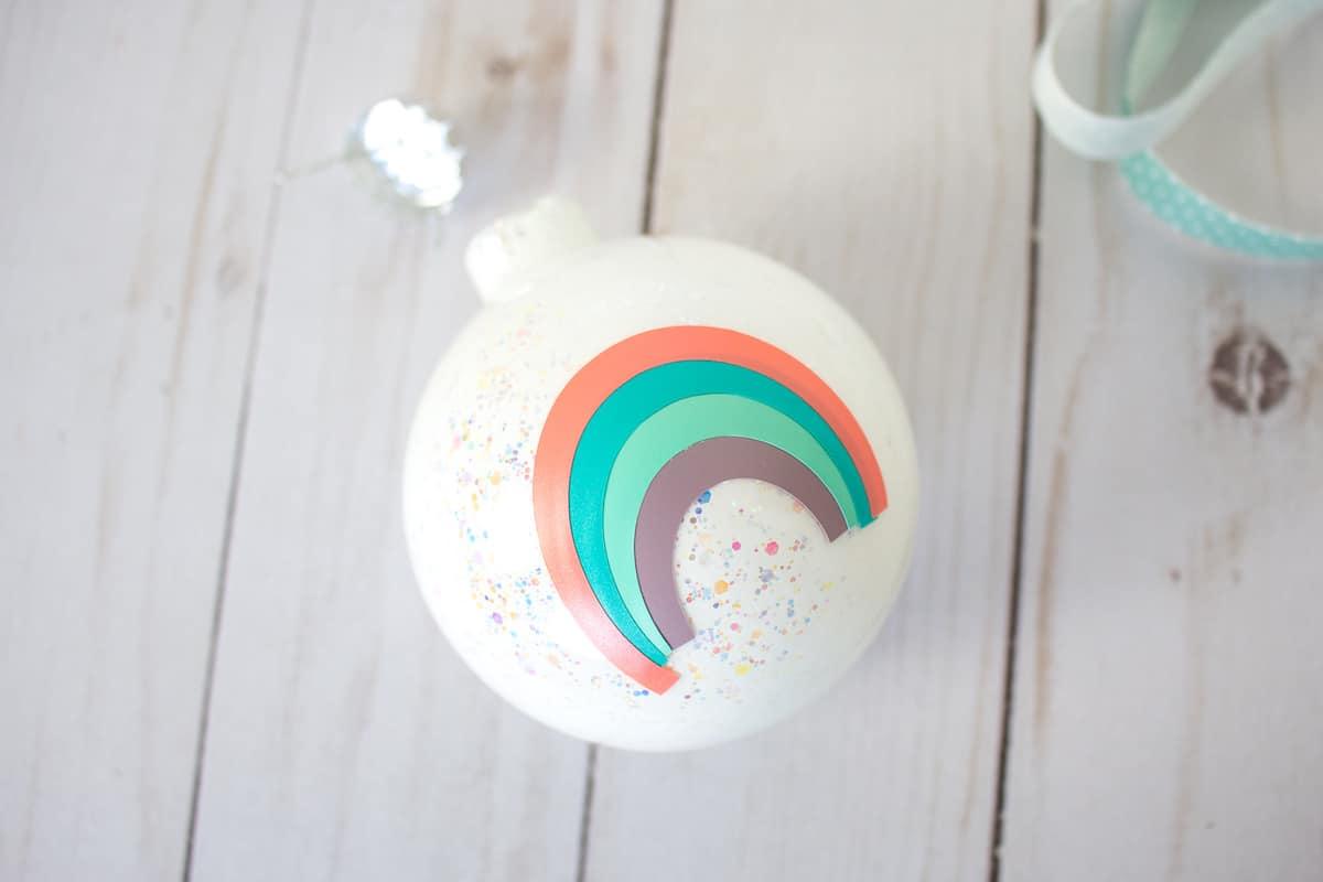 Rainbow on White Glitter Ornament