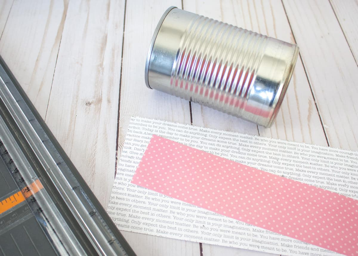 Tin can and scrapbook paper