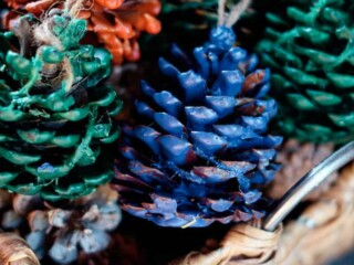 basket of wax dipped pinecone fire starters