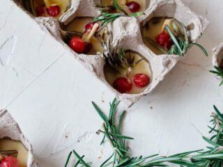 beeswax firestarter candles in an egg carton