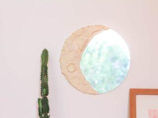 DIY Moon Mirror on a pink wall