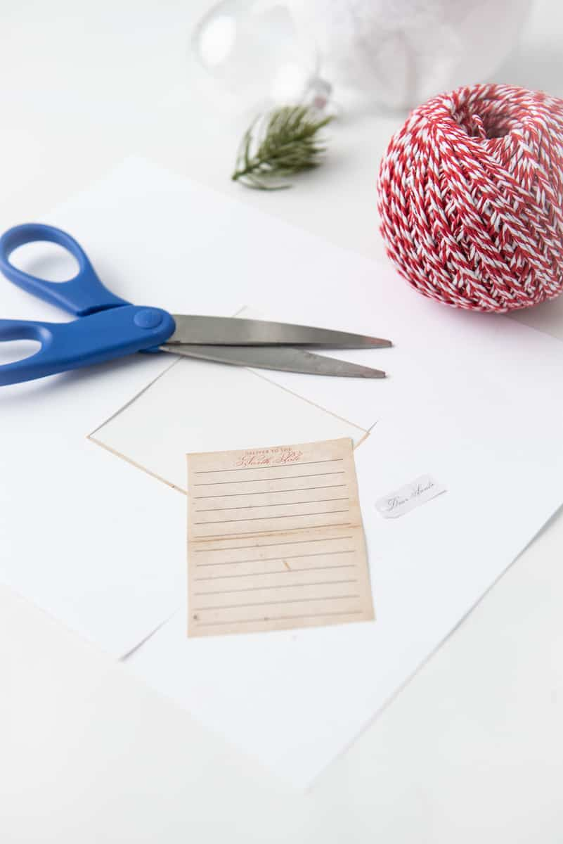 Printable Letter to Santa Cut Out, Scissors and Twine