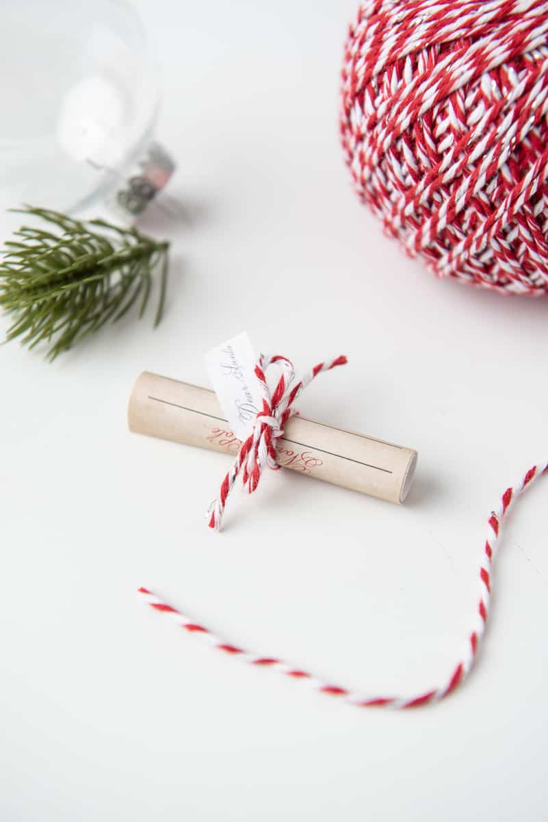 Tiny Letter to Santa Tied in Twine