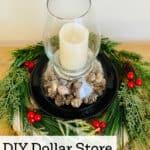DIY hurricane lamp with Christmas decor
