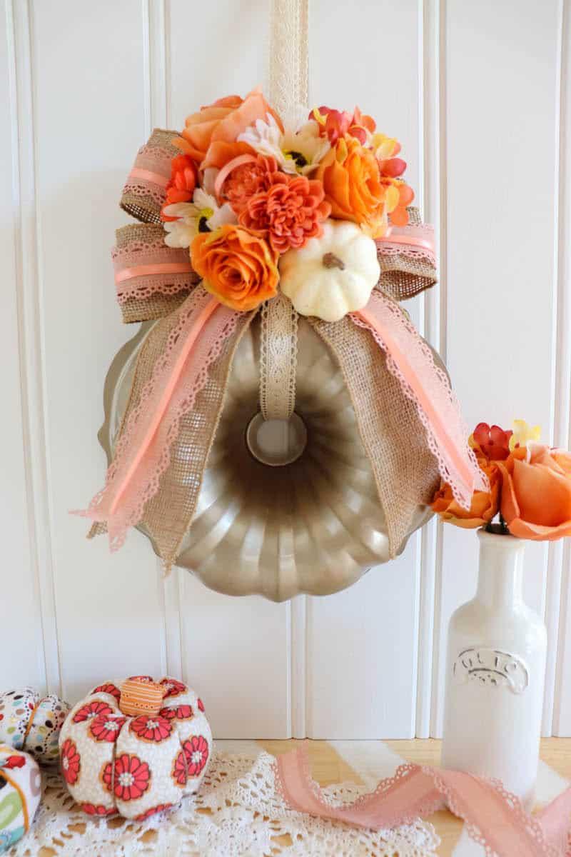 pumpkin Bundt Pan Wreath Decor