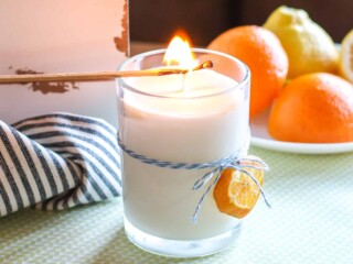 DIY hand poured Soy Candle with citrus scent