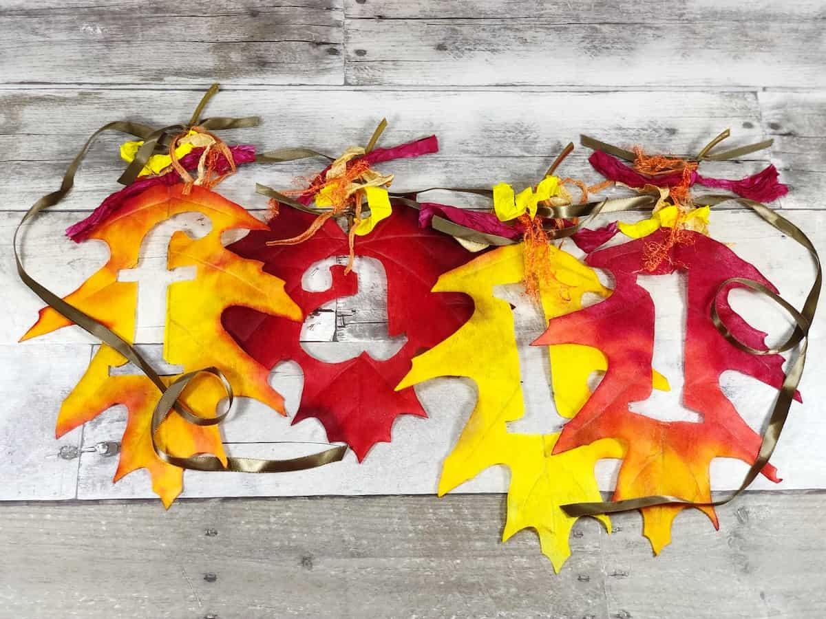 Dollar Store Fall Leaf Banner Craft Decor