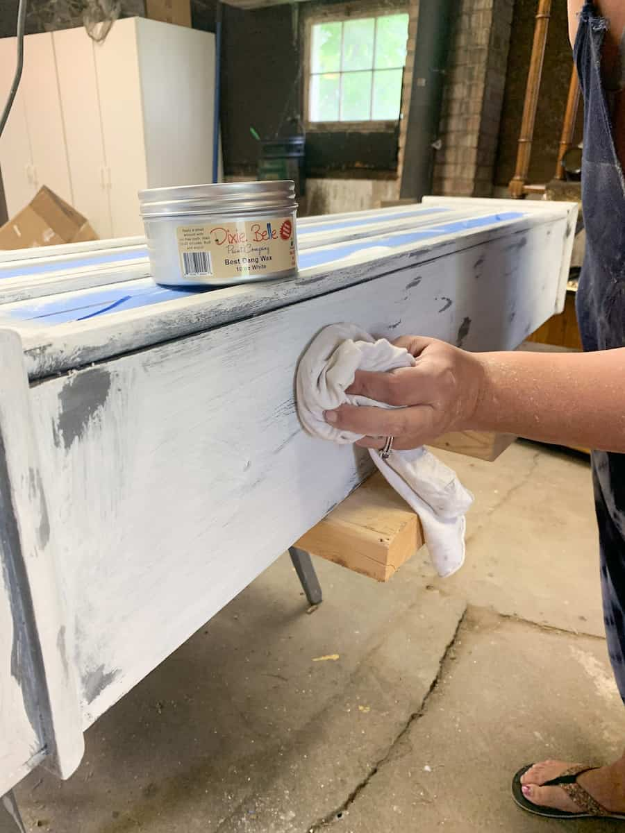 Removing dust from distressed sanded painted furniture