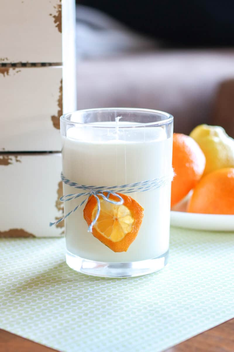 handmade Soy Candle with dried orange slice