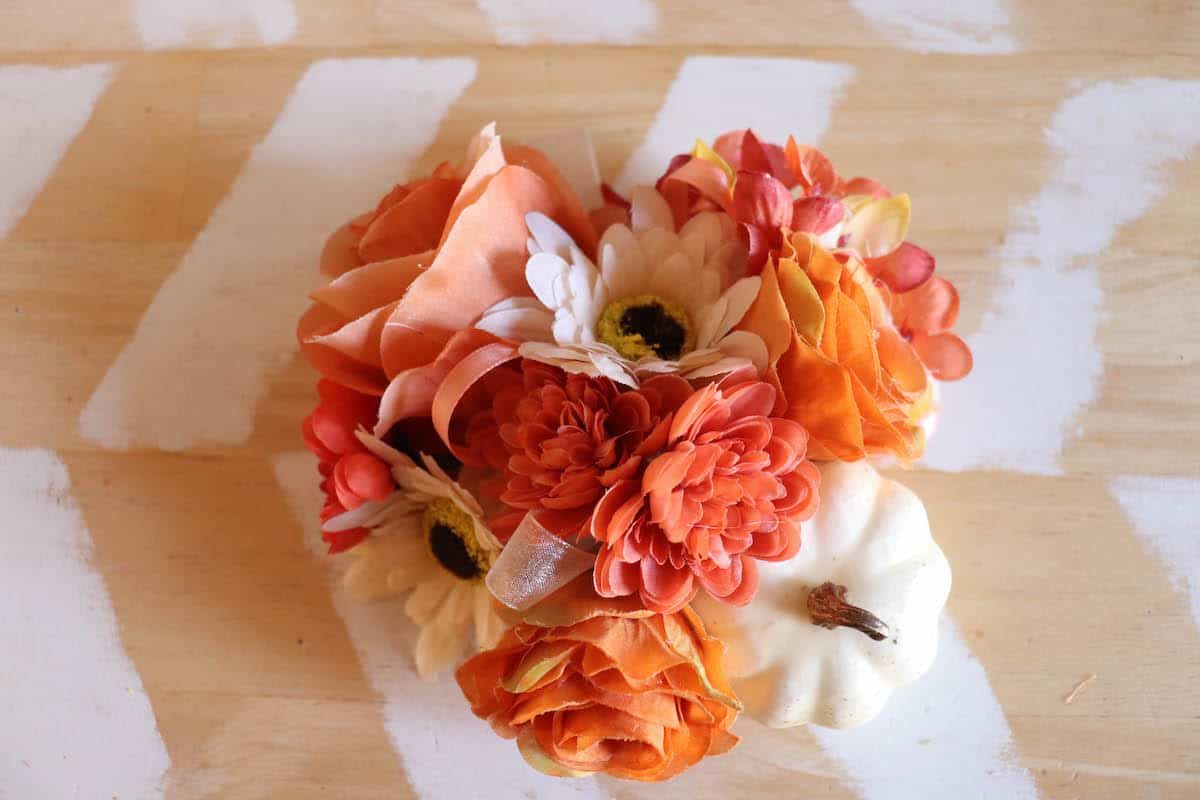 faux flower arrangement for fall craft