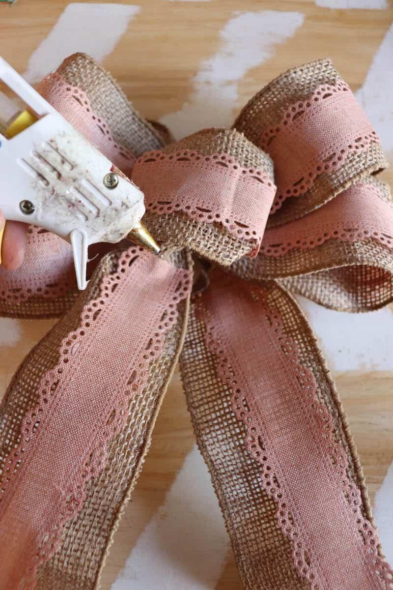 hot glueing burlap ribbon