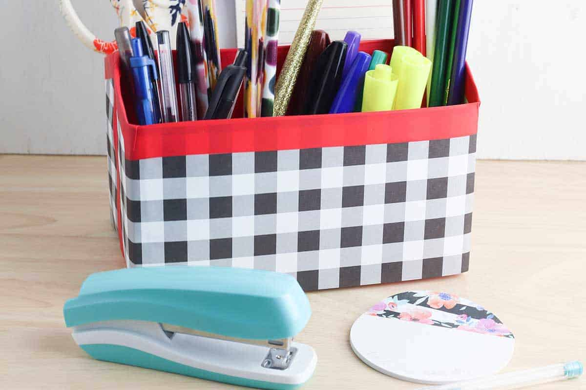 Cereal Box Organizer with stapler