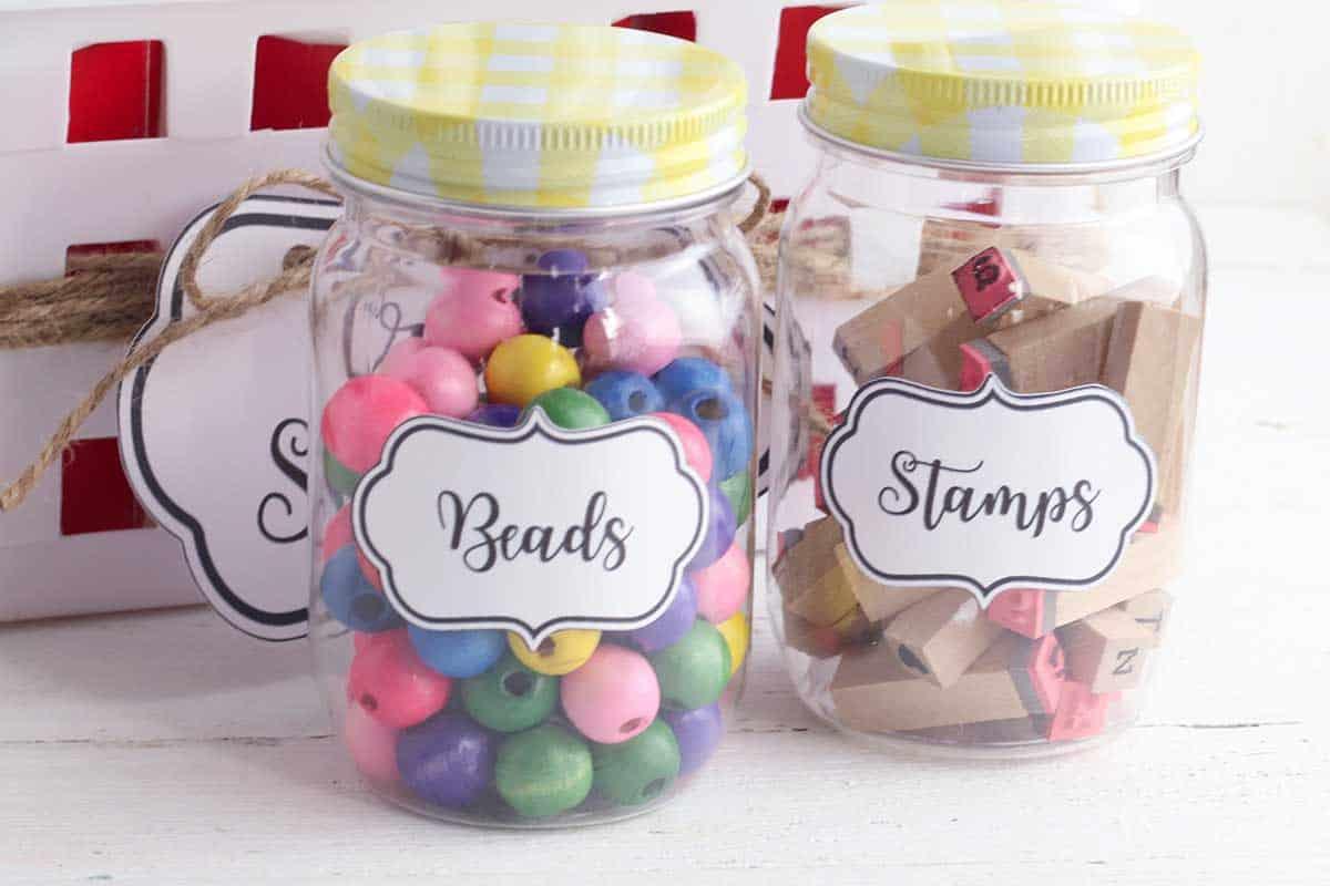 Craft Organization with labeled mason jars