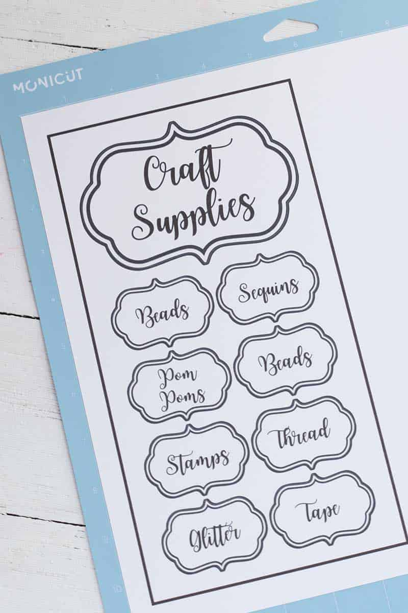 Craft Organization Labels printed on sheet