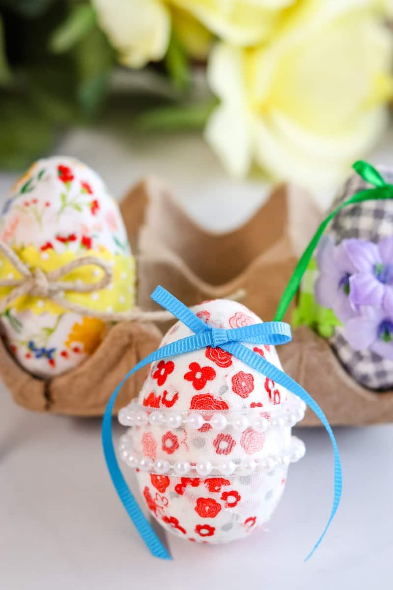 Decoupage Easter Eggs clustered in egg holder