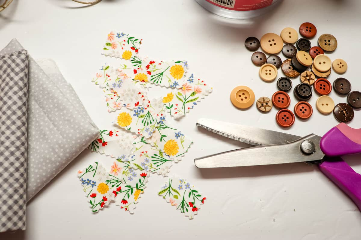 small pieces of floral fabric