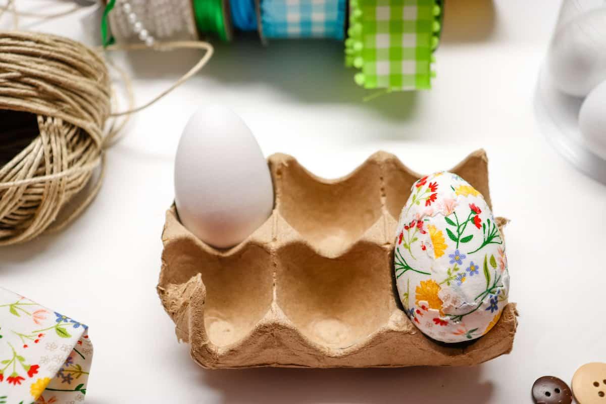 Decoupage Easter Eggs in an egg holder