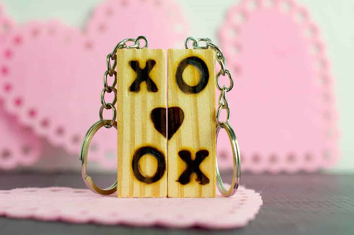 tumbling towers Block Keychain with wood burned letters