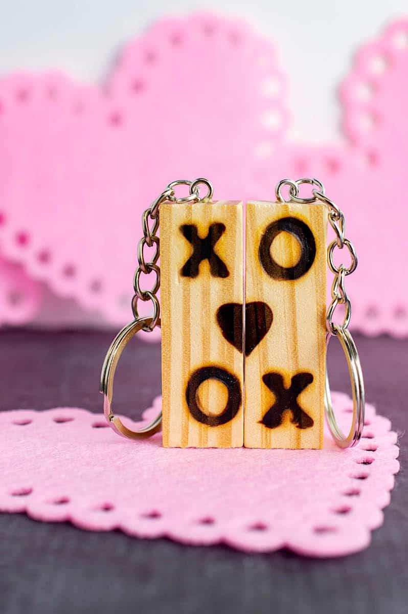 Jenga Block Keychain with pink heart background