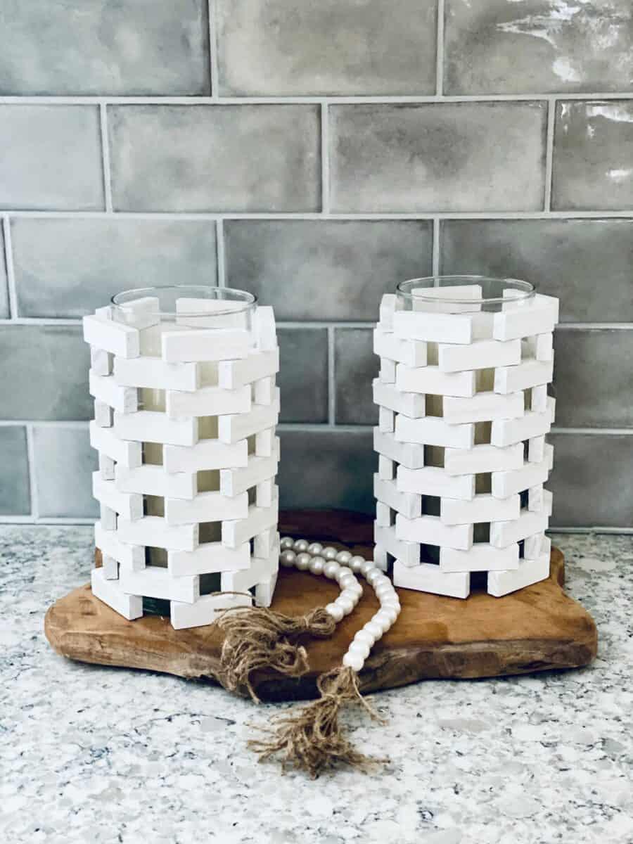 Jenga blocks DIY candle holder on countertop