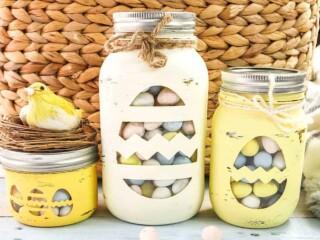 Mason Jar Easter Craft against wicker basket