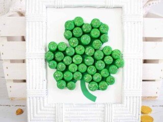 St Patricks Day Shamrock in white frame with gold coins
