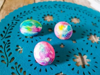 Tie Dye Easter Eggs on blue lace