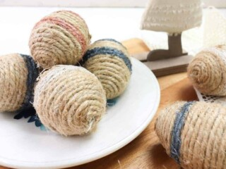 farmhouse style Twine Wrapped Easter Eggs on plate on table