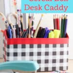 upcycled cardboard desk caddy