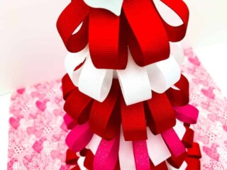 Valentines Day Ribbon Loop Tree on pink heart paper