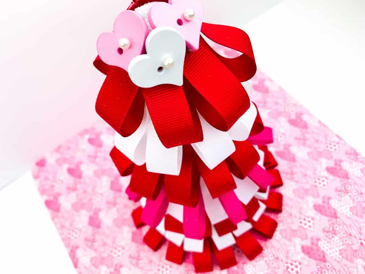 Valentines Day Ribbon Loop Tree on pink paper