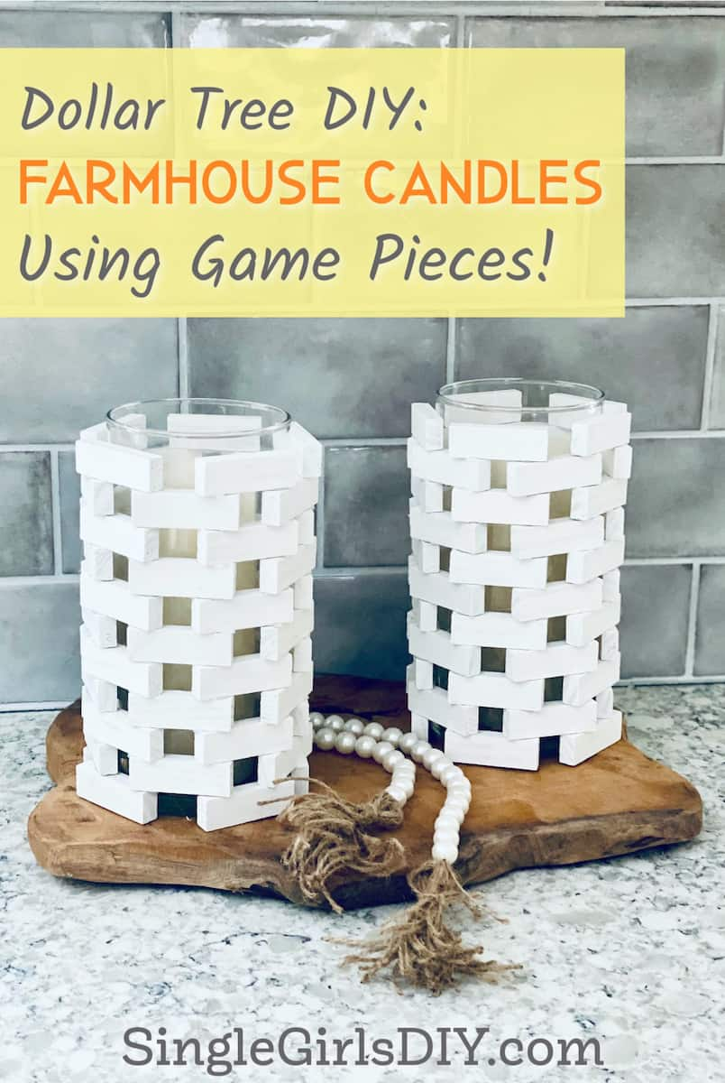 two candleholders made with wooden game pieces from dollar tree