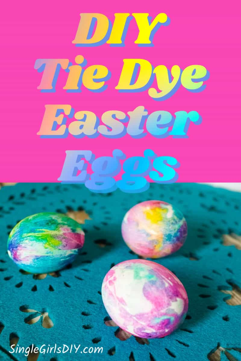 tie dyed Easter eggs on blue background