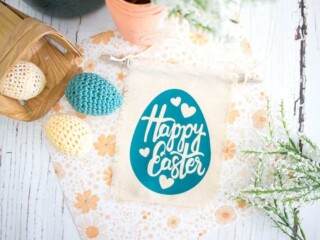 Easter Banner on table with eggs and flowers