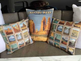 national park pillows on RV dinette