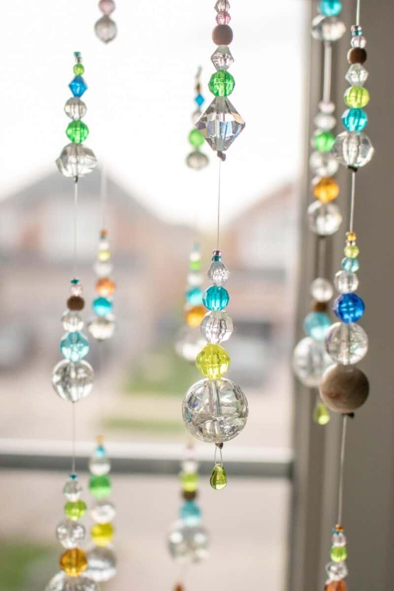DIY Suncatcher with Beads closeup in window
