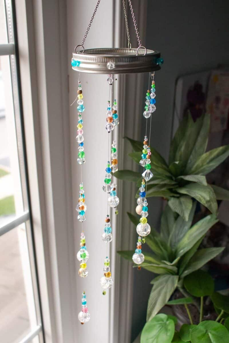 DIY Suncatcher with Beads hanging in window