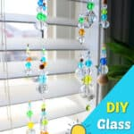 glass beads hanging in a window
