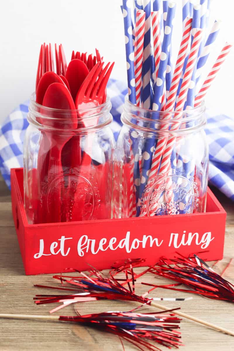 Fourth of July Tray with Jars of picnic supplies
