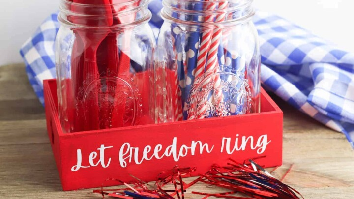 Fourth of July Tray on Table With Streamers