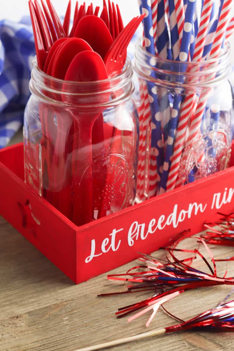 Fourth of July Tray on Wooden Table Top