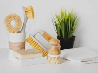 cleaning tools on counter top