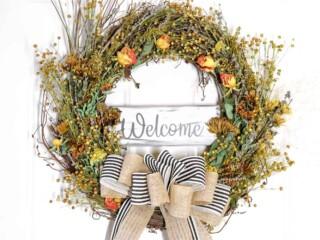 dried flower wreath on front door