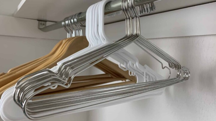 hangers in clothes closet